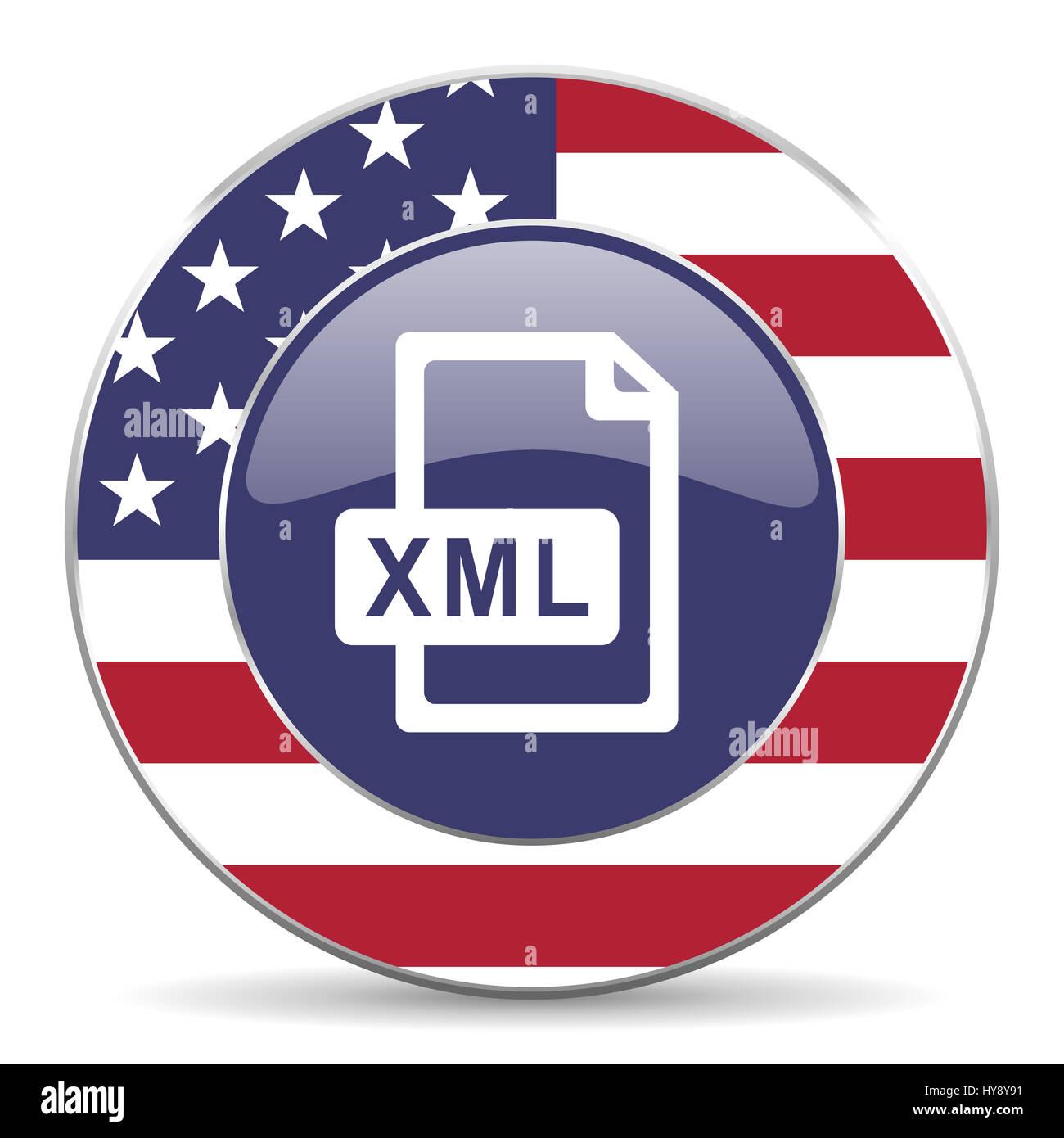 Background image xml - Stock Photo Xml File Usa Design Web American Round Internet Icon With Shadow On White Background