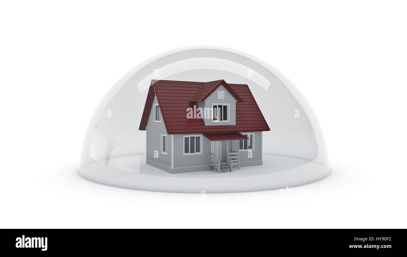 Shield House house under a glass shield, protection concept. 3d rendering stock