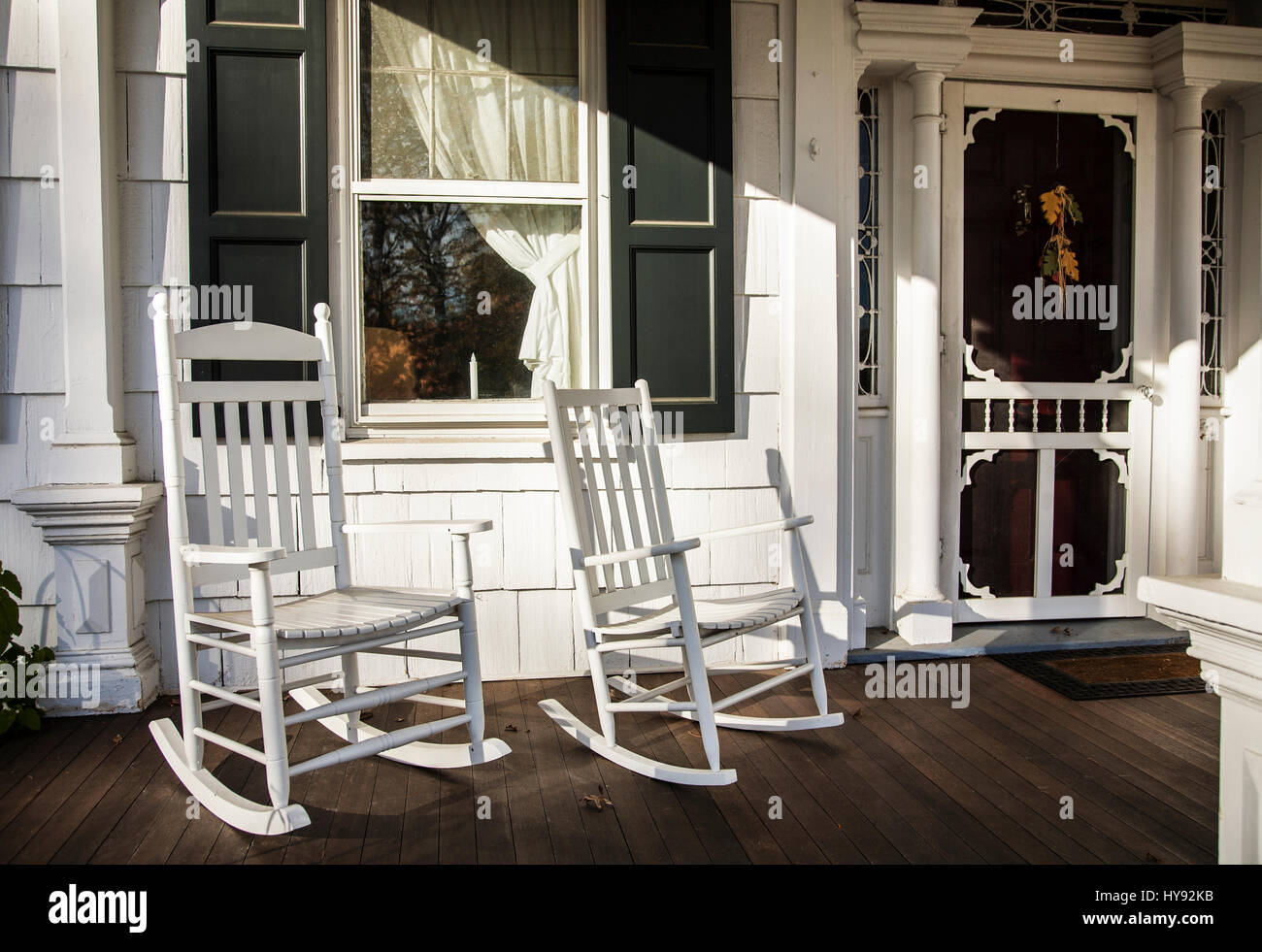 Old Fashioned Front Porch Two White Rocking Chairs Window And Door Monmouth County New Jersey USA