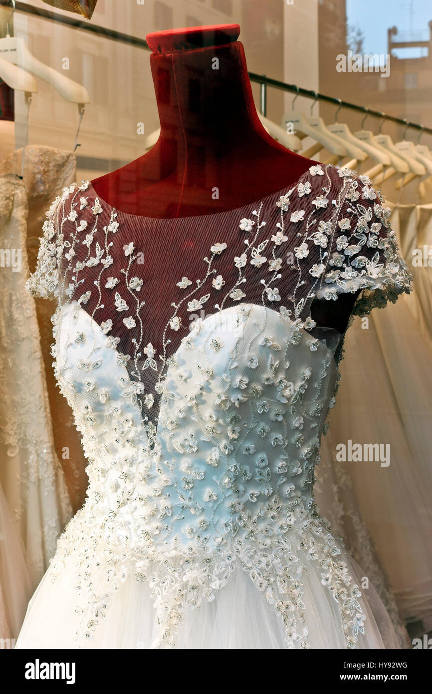 Wedding, white bridal gown dress on dummy mannequin on display in ...