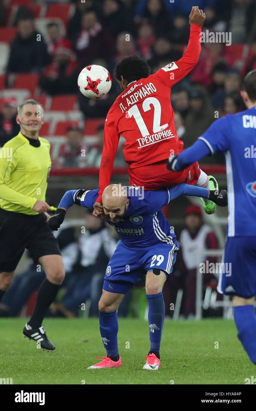 Moscow Russia 3rd Apr 2017 Spartak Moscow s Luiz Adriano C