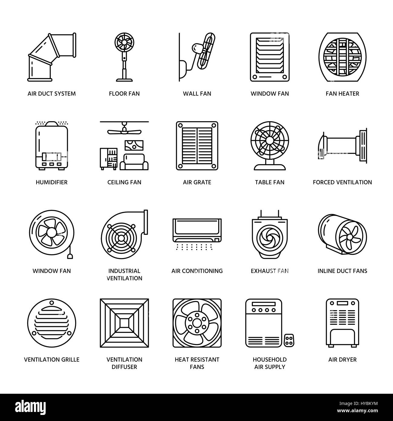 Ventilation equipment line icons air conditioning cooling stock ventilation equipment line icons air conditioning cooling appliances exhaust fan household and buycottarizona Image collections