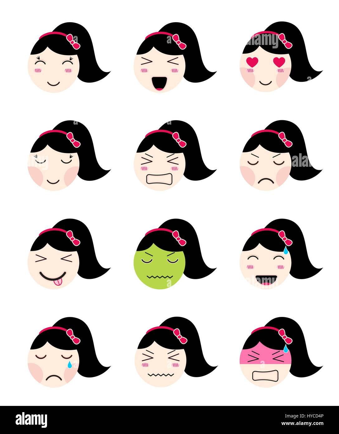 Kawaii asian girl face different moods