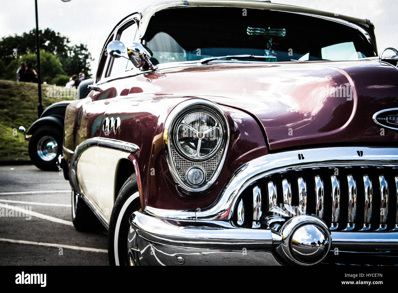 Vintage american muscle car. front bumper Stock Photo, Royalty ...