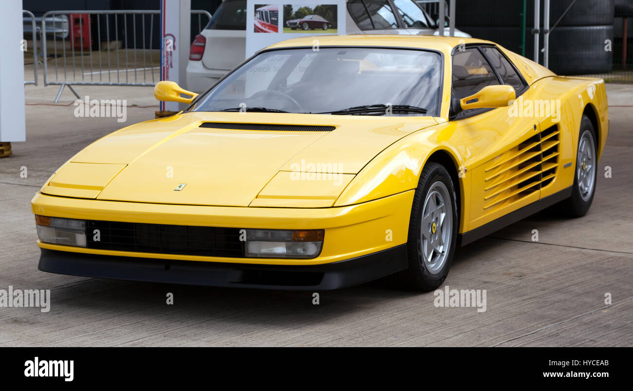 Testarossa stock photos testarossa stock images alamy three quarter view of a yellow ferrari testarossa on display at the silverstone classic vanachro Gallery