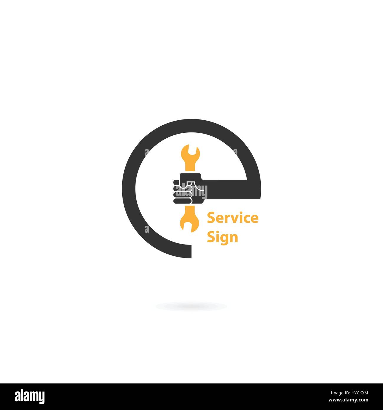 Human Hand Icon And Wrench Vector Logo Design Template