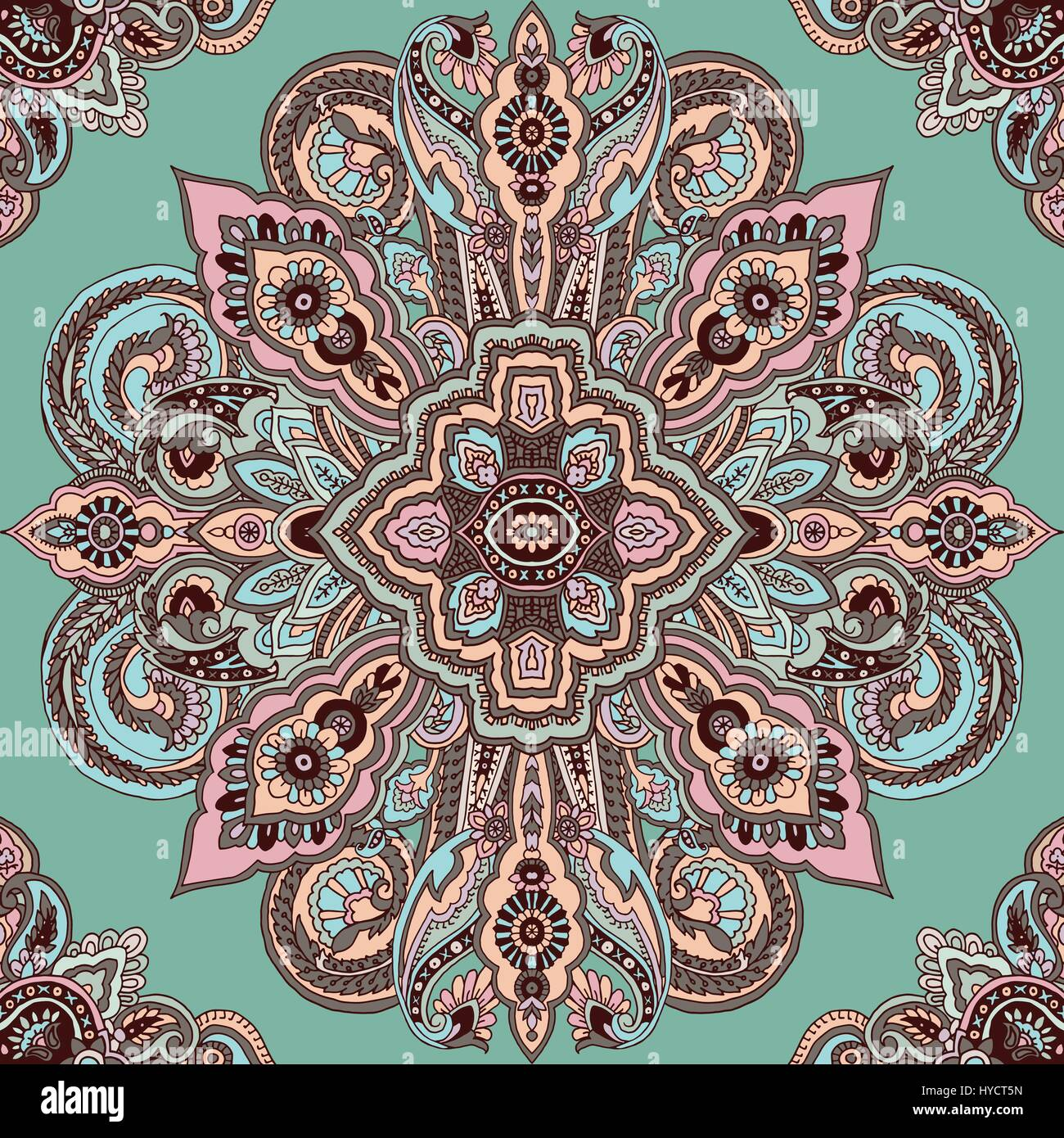 abstract circular geometric paisley pattern traditional oriental