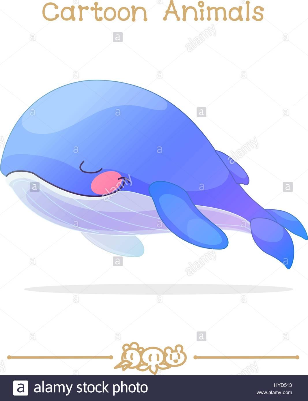 toons series cartoon animals sleeping blue whale stock vector art
