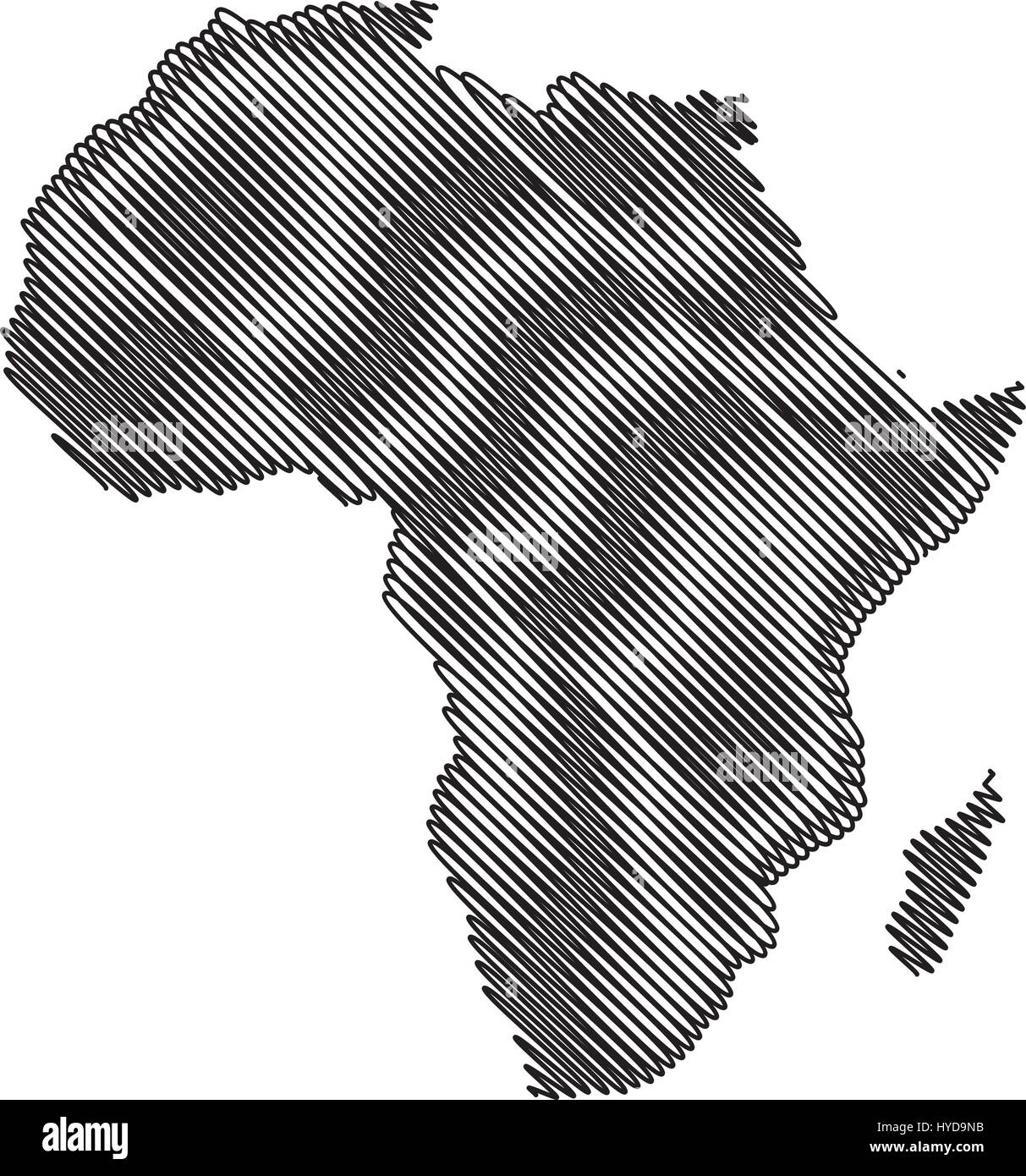 map of Africa vector illustration scribble sketch of Africa Stock