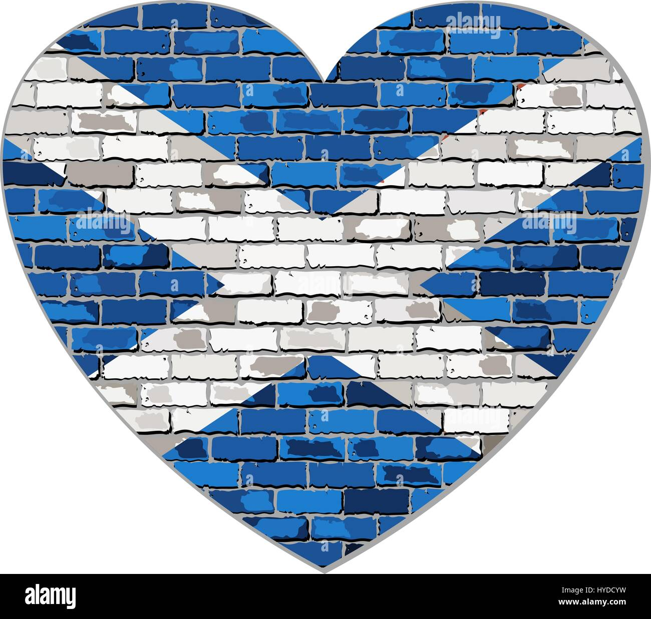 scotland flag on a brick wall in heart shape illustration