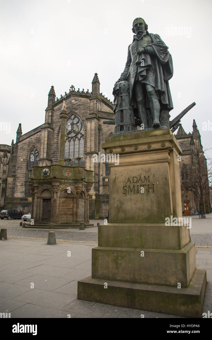 Statue of Adam Smith, the Father of Economics, with St Giles ...
