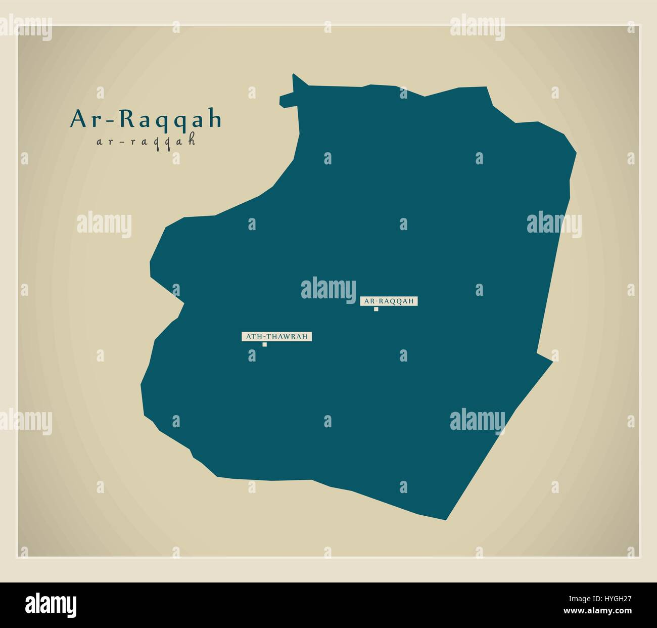 Modern Map ArRaqqah SY Stock Vector Art Illustration Vector