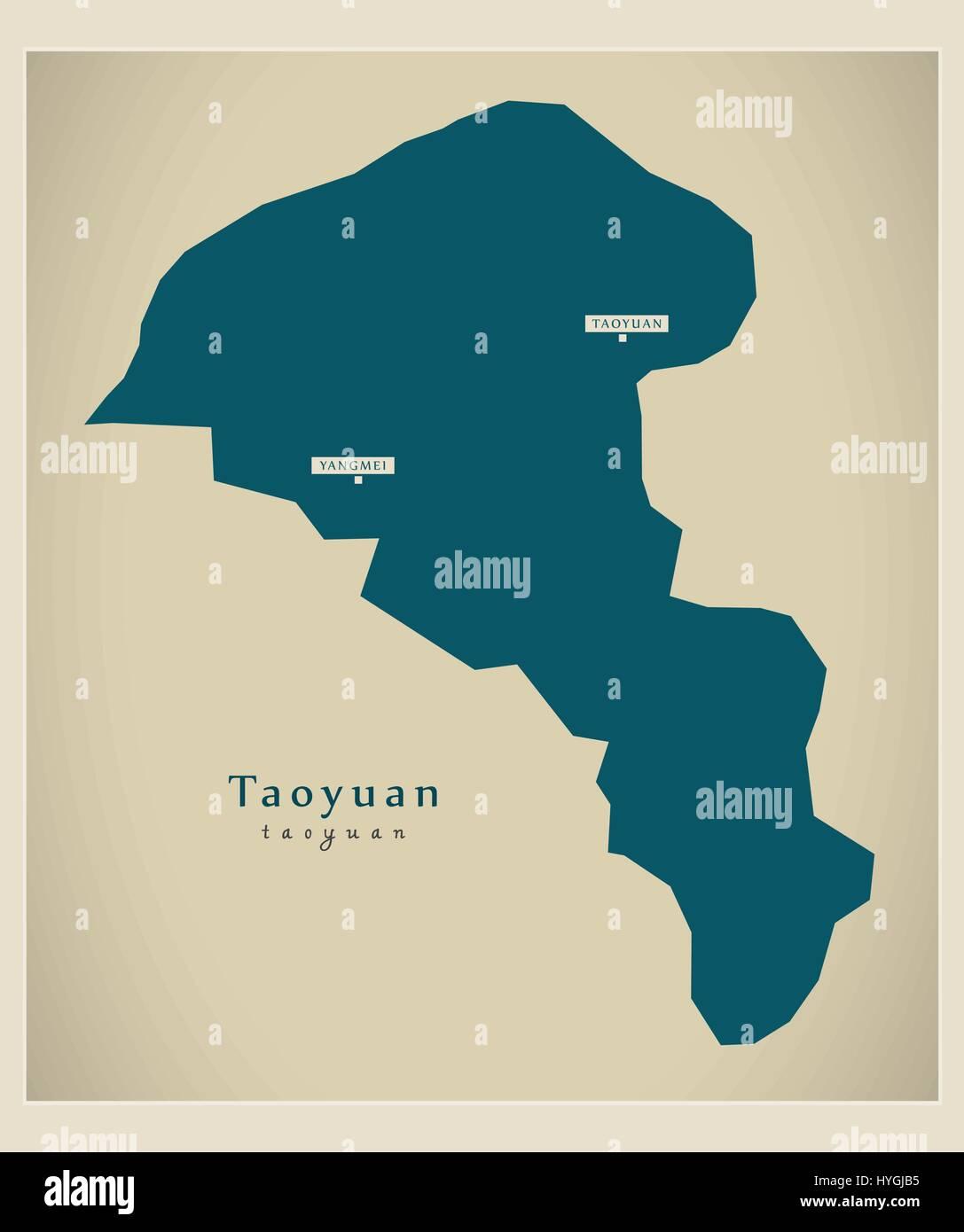 Modern Map Taoyuan TW Stock Vector Art Illustration Vector
