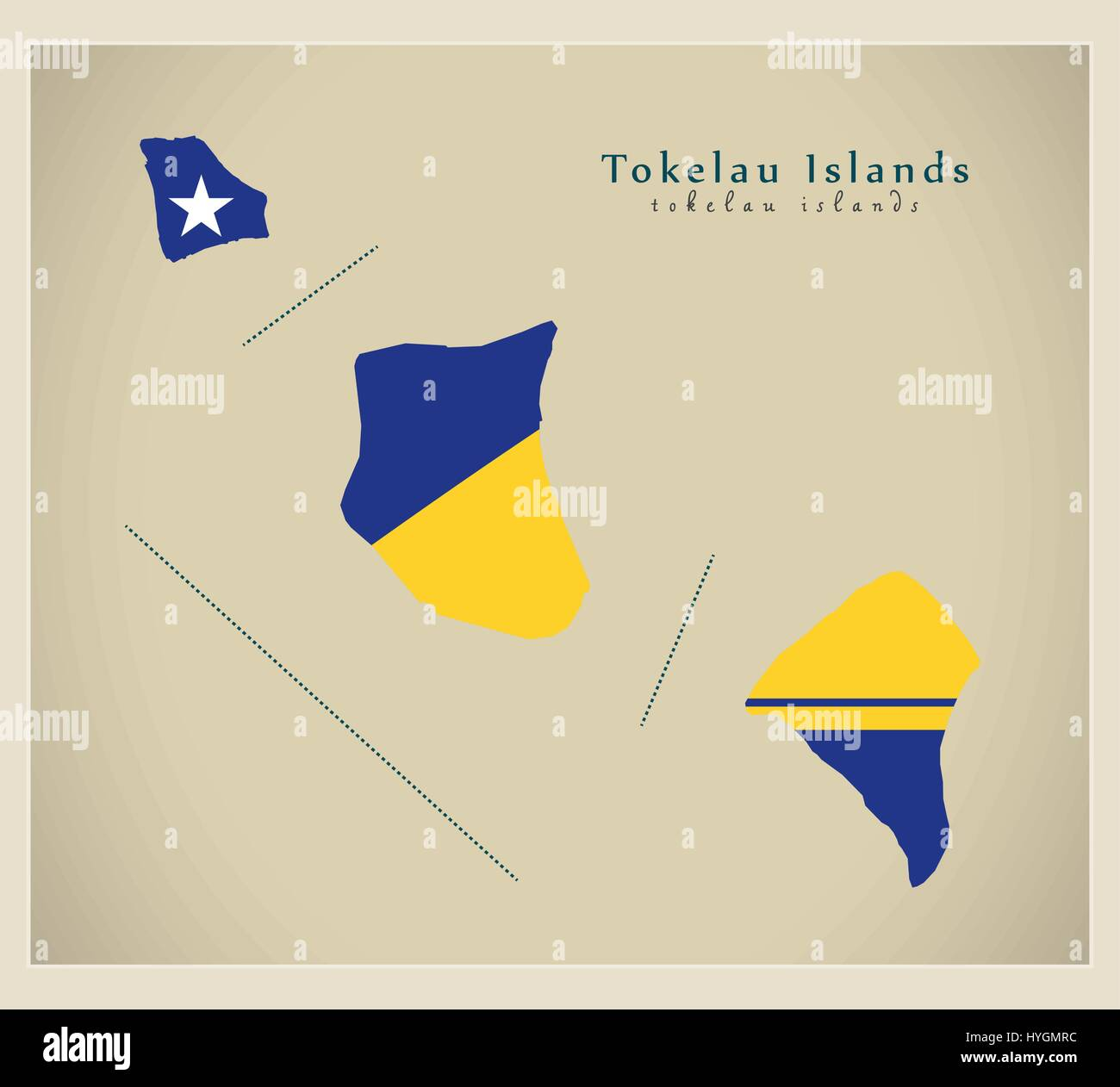 Modern Map Tokelau Islands Flag Colored TK Stock Vector Art - Tokelau map