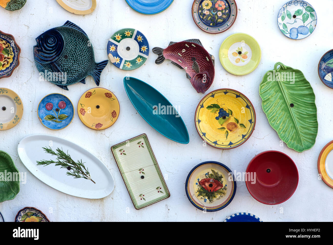 Argila Artesanato Onde Comprar ~ Hand painted traditional Portuguese pottery at the wall of the Stock Photo, Royalty Free Image