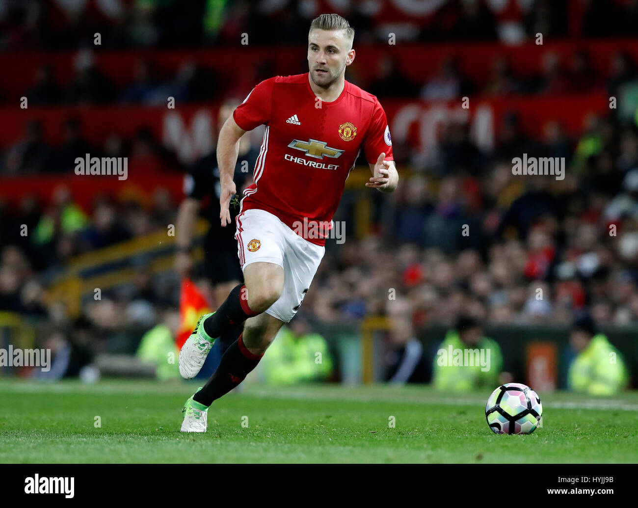 Manchester United s Luke Shaw during the Premier League match at