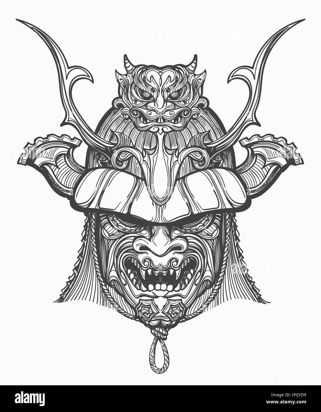 Samurai mask hand drawn vector illustration. Japanese ...
