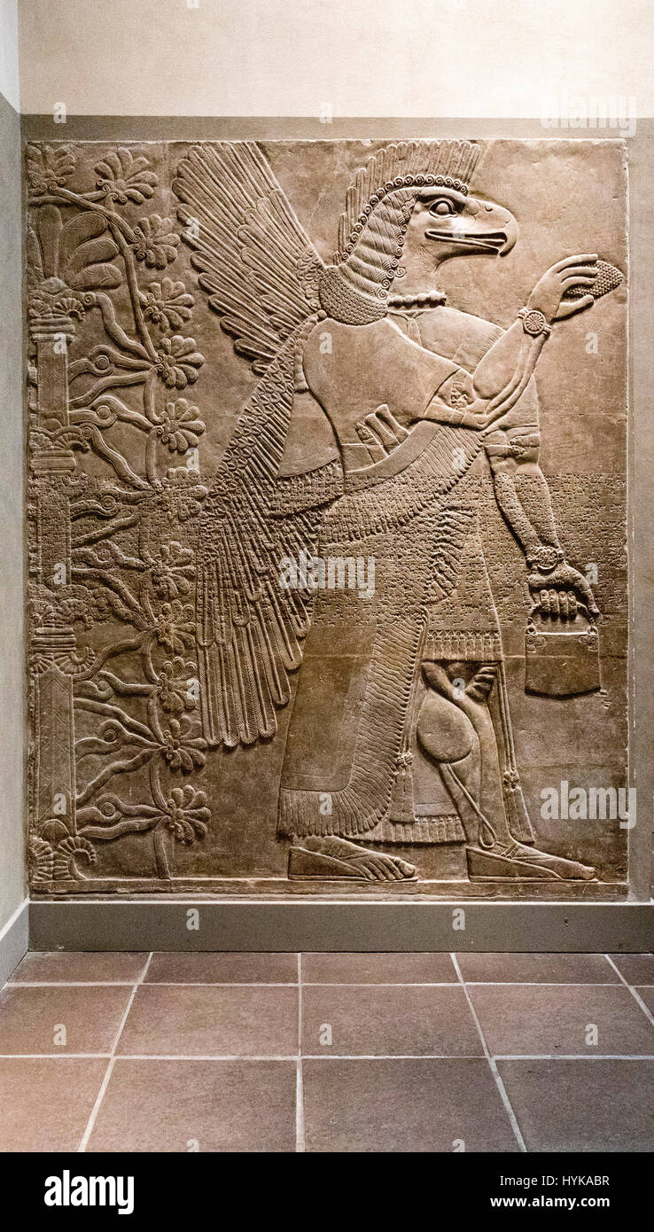 Stone carved eagle headed winged figure assyrian palace