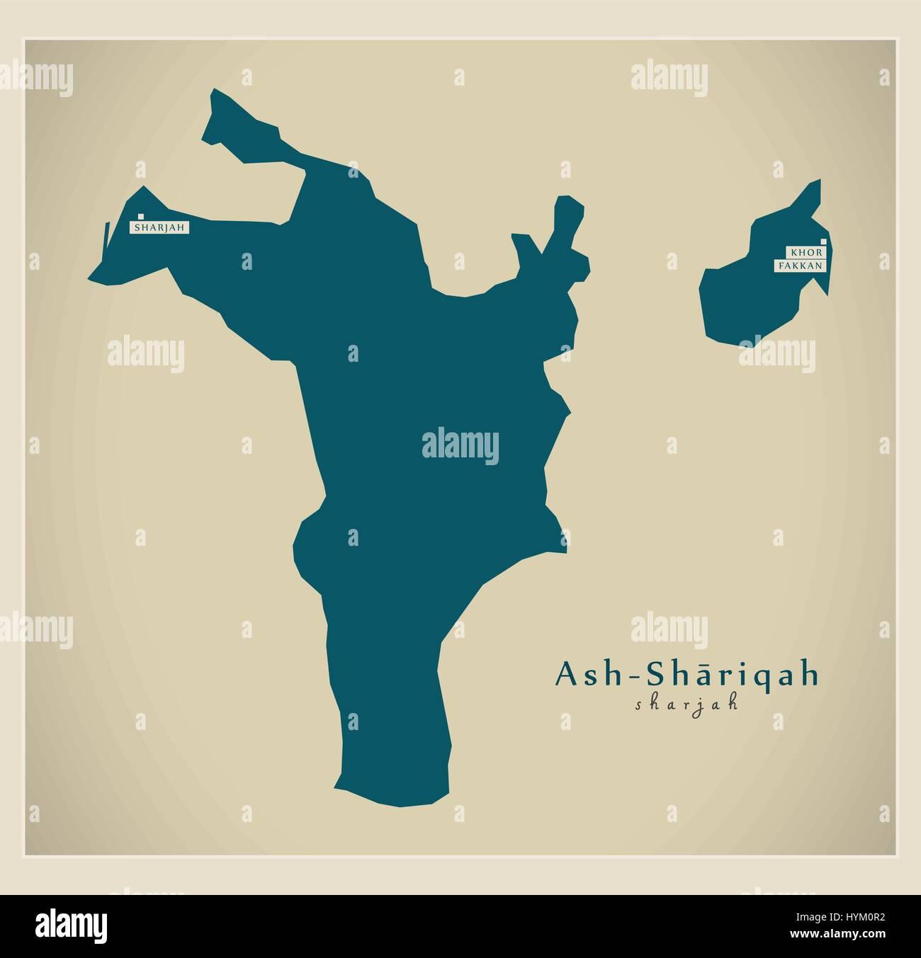 Modern Map AshShariqah AE Stock Vector Art Illustration Vector