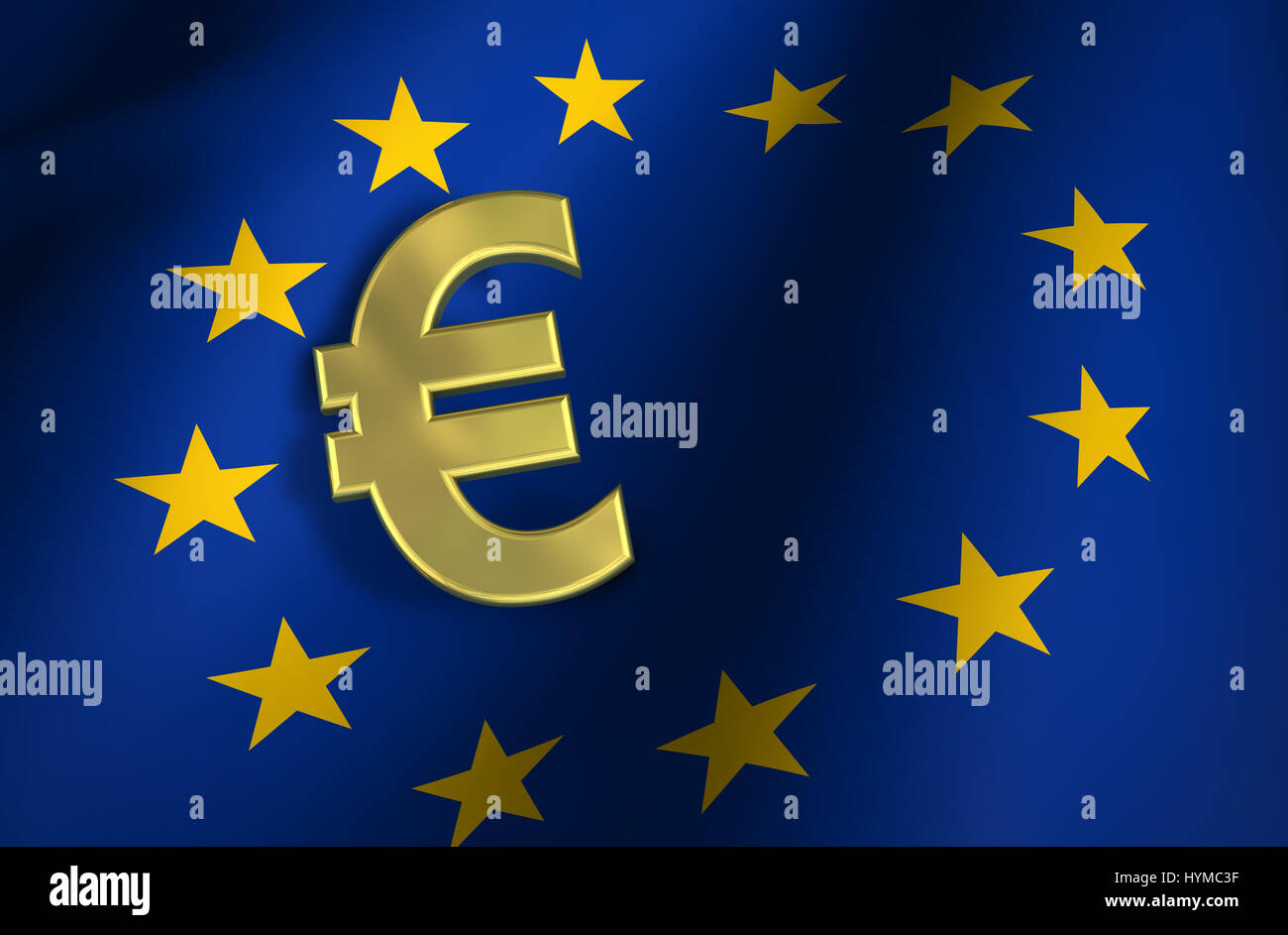 European union flag and euro sign gold icon and eu community european union flag and euro sign gold icon and eu community market symbol 3d illustration concept background biocorpaavc Images
