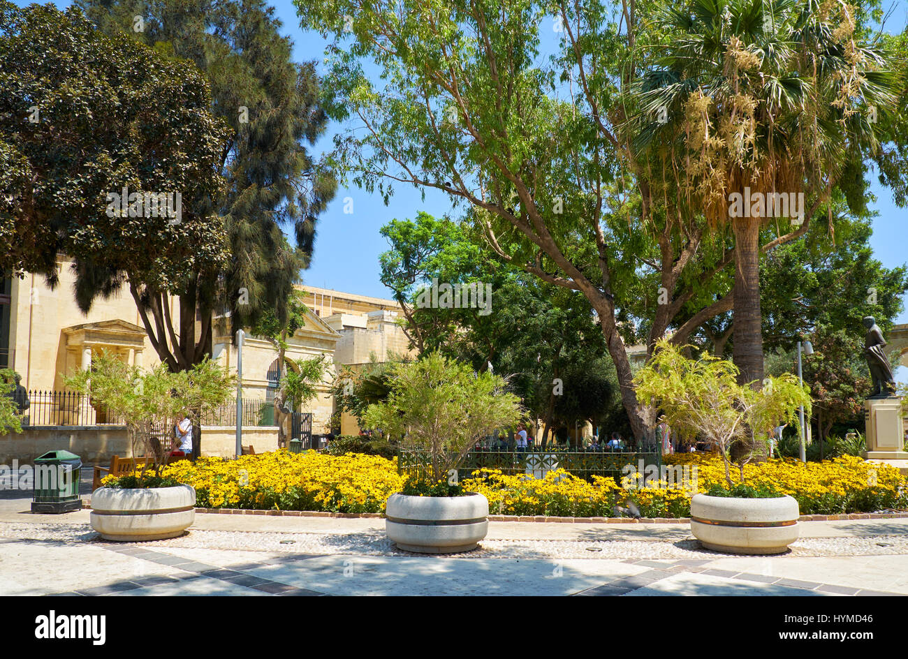 View Of The Upper Barrakka Gardens Valletta Malta Stock