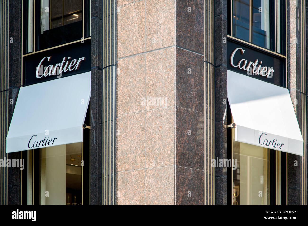 TOKYO JAPAN OCTOBER 2 2016 Detail of the Cartier shop in Tokyo