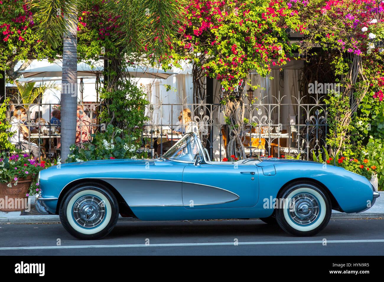 1957 chevrolet corvette stingray parked in downtown naples florida usa