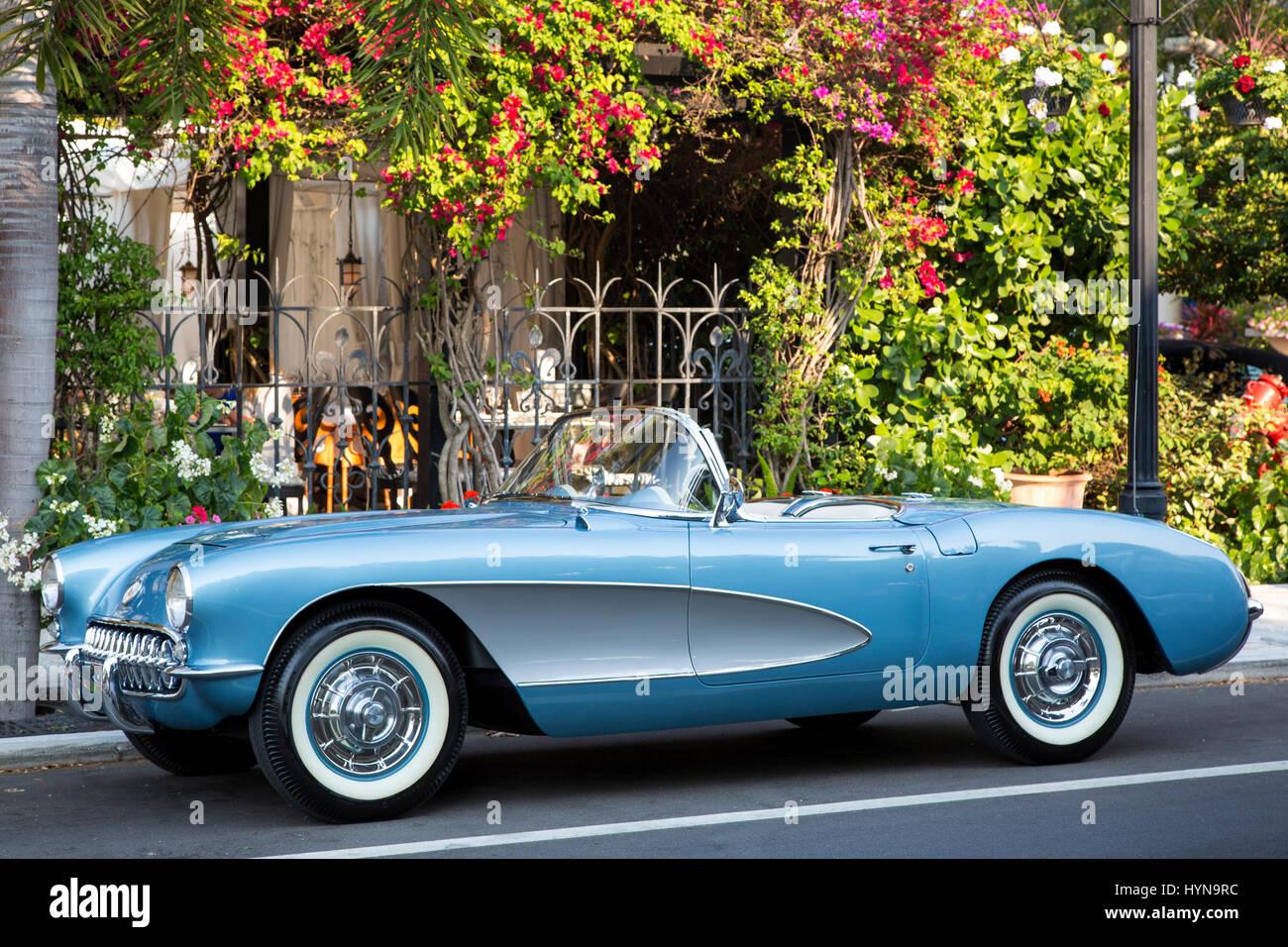 1957 chevrolet corvette stingray parked in downtown naples florida usa stock photo