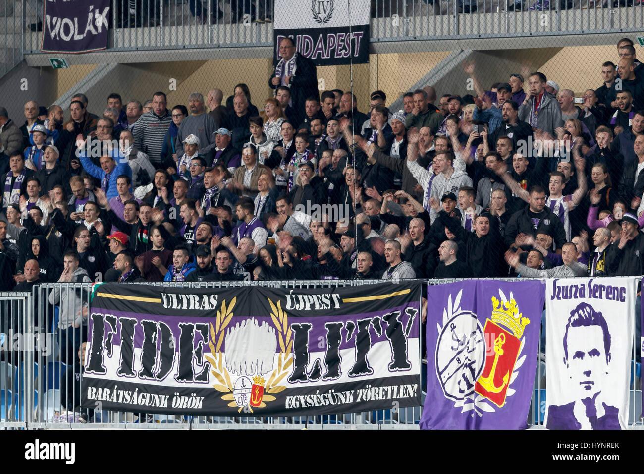 Budapest Hungary 05th Apr 2017 Ultras of Ujpest FC encourage