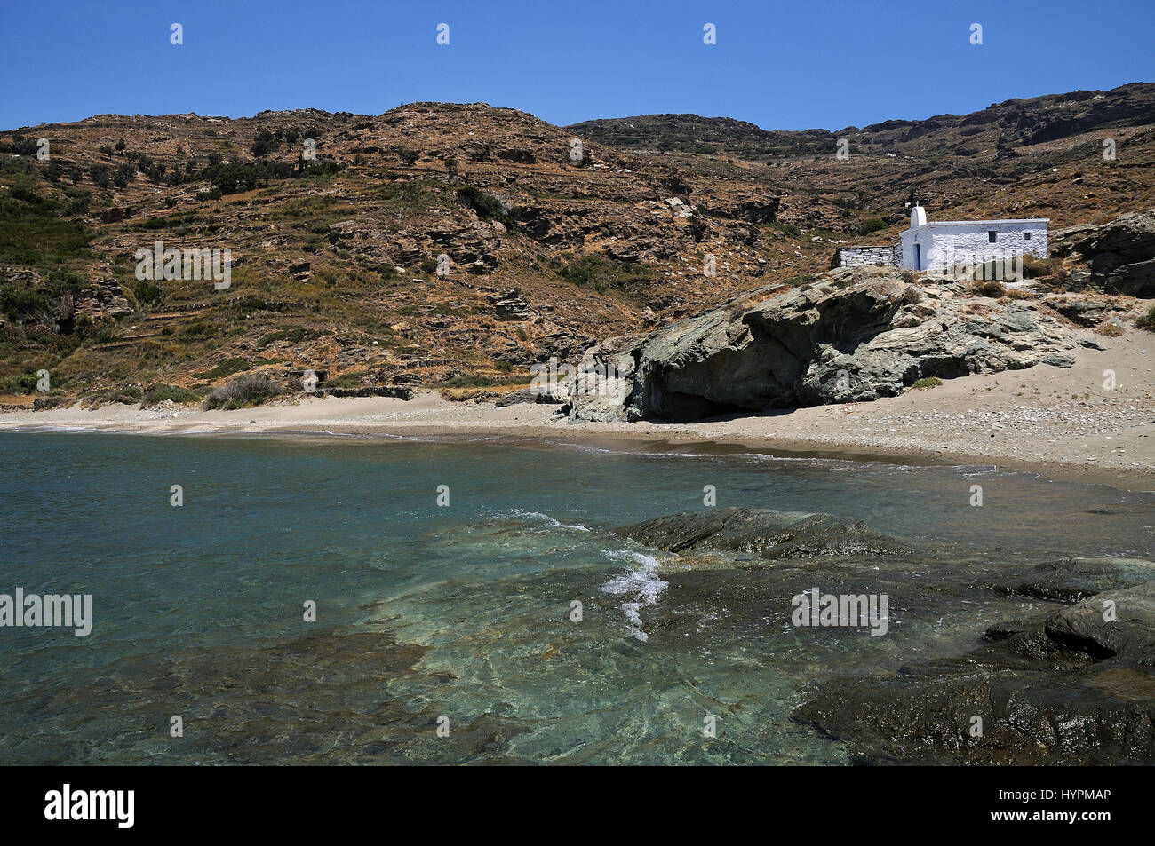 Halkolimionas Beach Andros island Cyclades Greece Stock Photo
