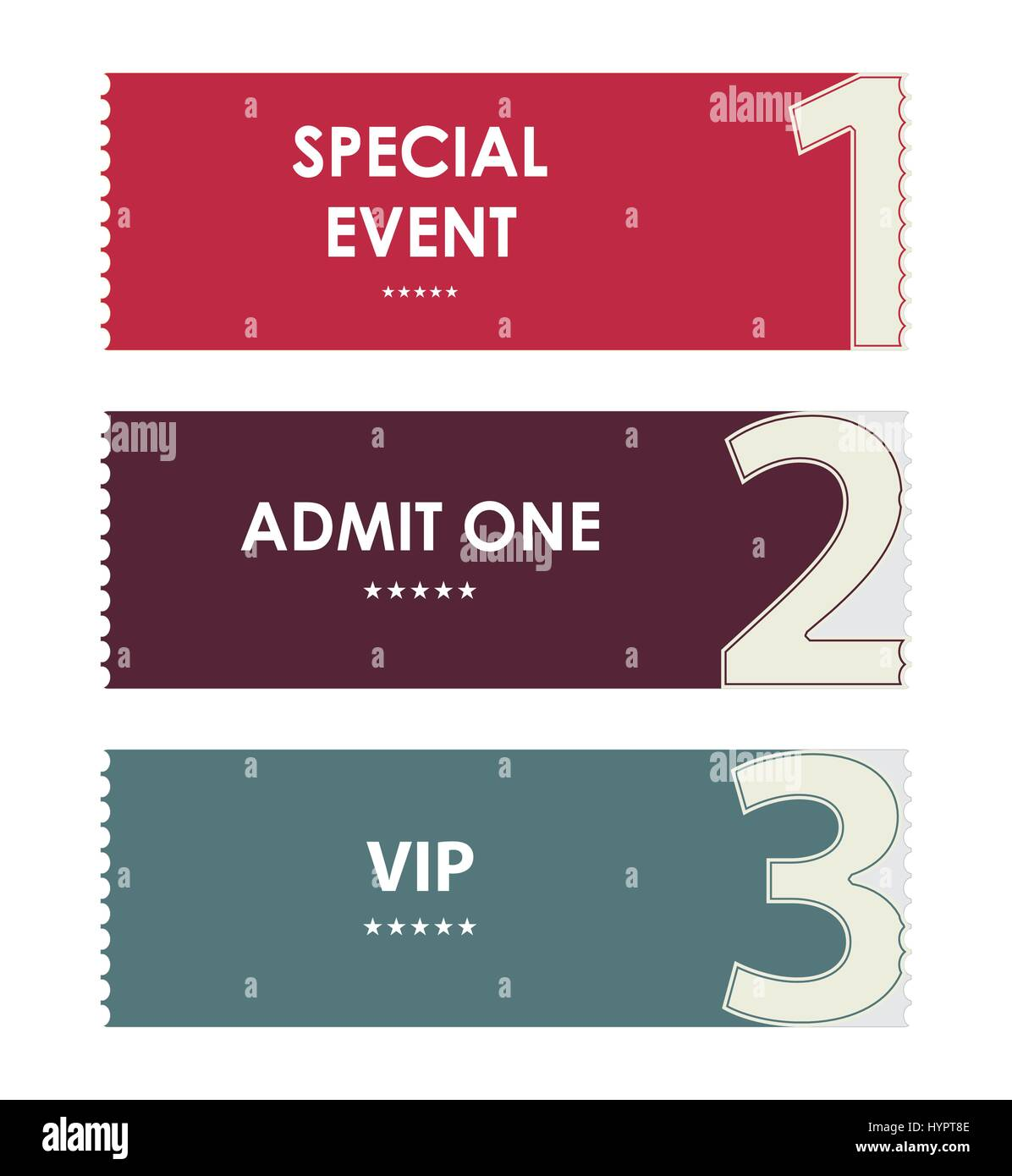 special modern ticket template event ticket admit one Stock Vector