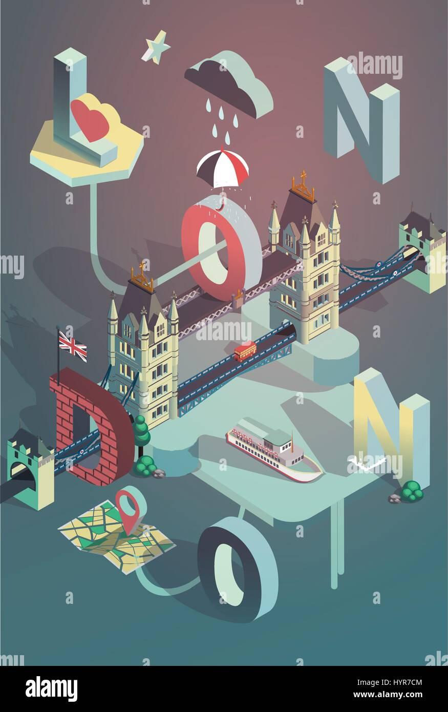 Poster design 3d - 3d Isometric Vector London City Poster Design