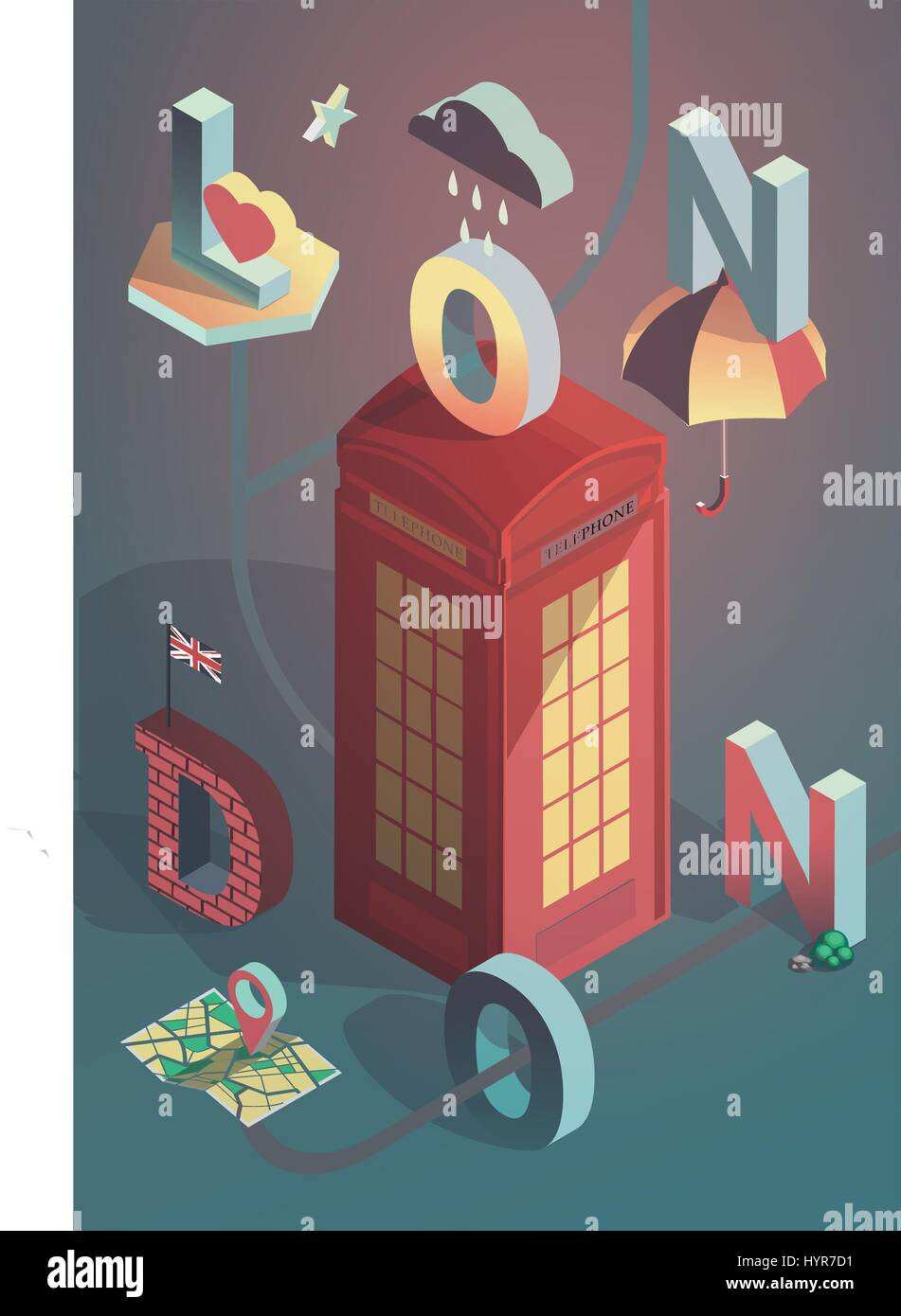 Poster design london -  3d Isometric Vector London City Poster Design Stock Photo