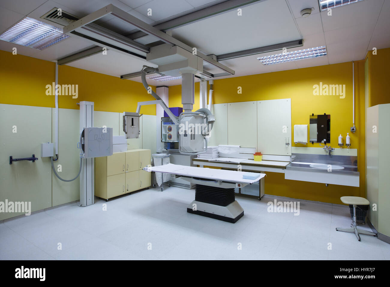 Modern hospital operating room - Stock Photo X Ray Room In A Hospital Er Operating Room With A Classic Ceiling Mounted X Ray System Modern Medical Equipment Interventional Medicine And