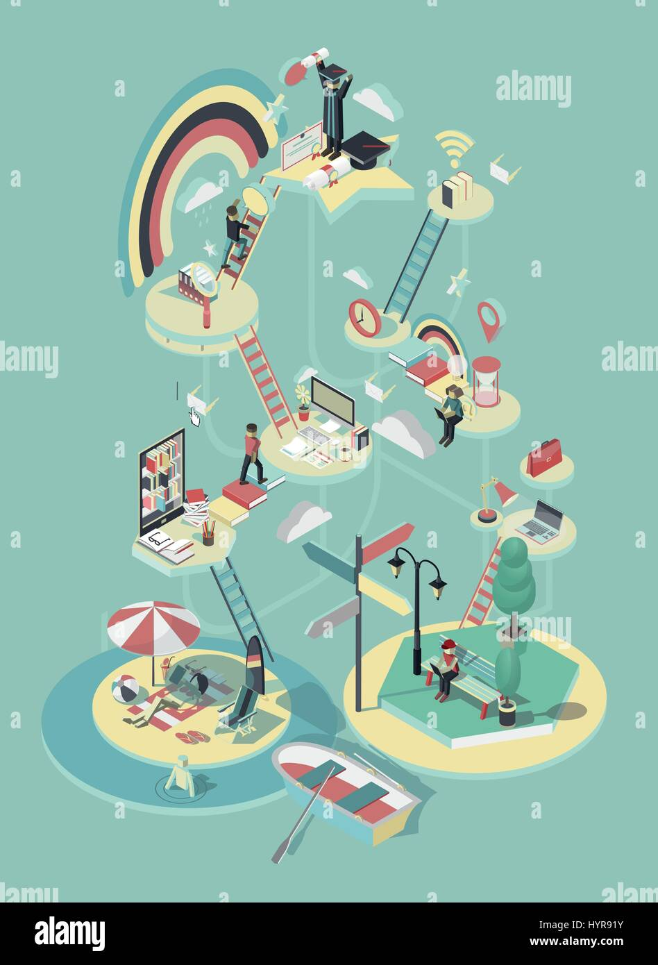 Poster design online free download - 3d Isometric Vector Design Online Education Poster