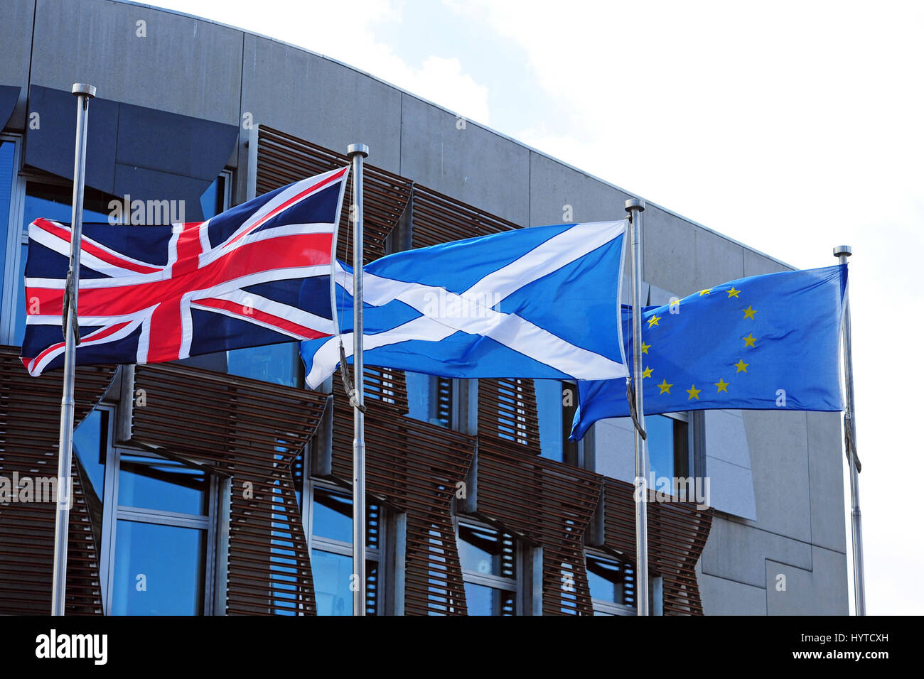 the scottish saltire the union flag and the flag of the european