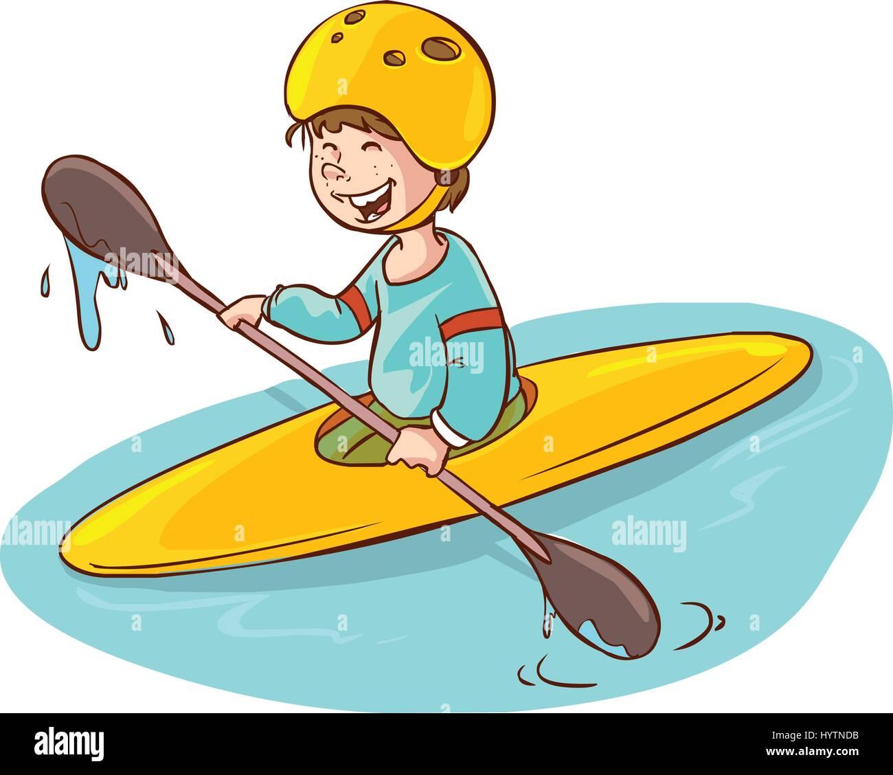 cartoon boy with a canoe. vector illustration Stock Vector ...