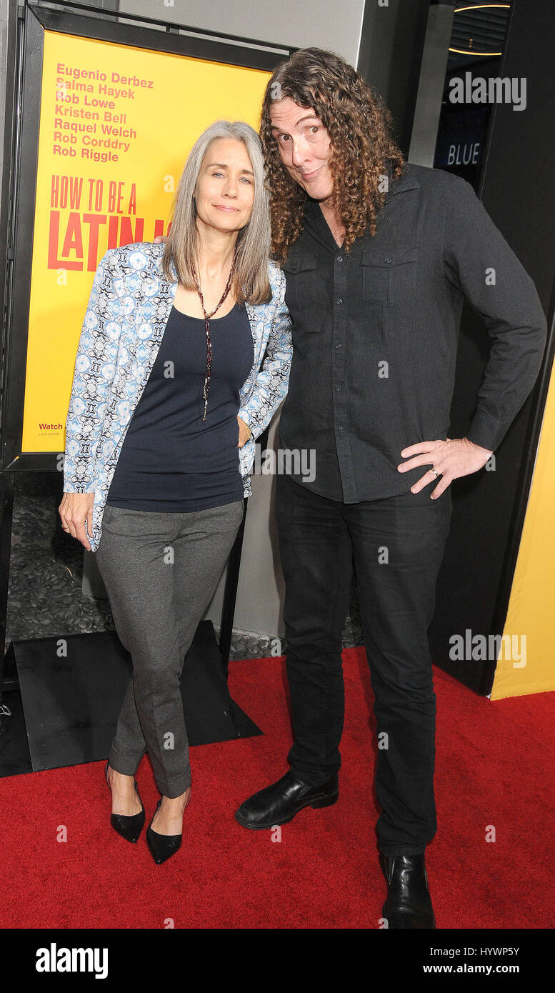 Los angeles california usa 26th apr 2017 comedian weird al comedian weird al yankovic suzanne krajenski at the how to be a latin lover premiere held at the dome at the arclight theate hollywood ccuart Images