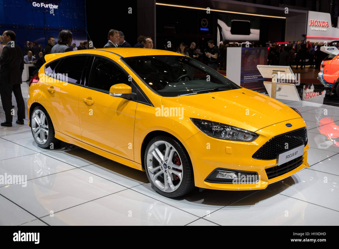 GENEVA SWITZERLAND - MARCH 7 2017 Ford Focus ST car shown at the 87th Geneva International Motor Show. & GENEVA SWITZERLAND - MARCH 7 2017: Ford Focus ST car shown at ... markmcfarlin.com