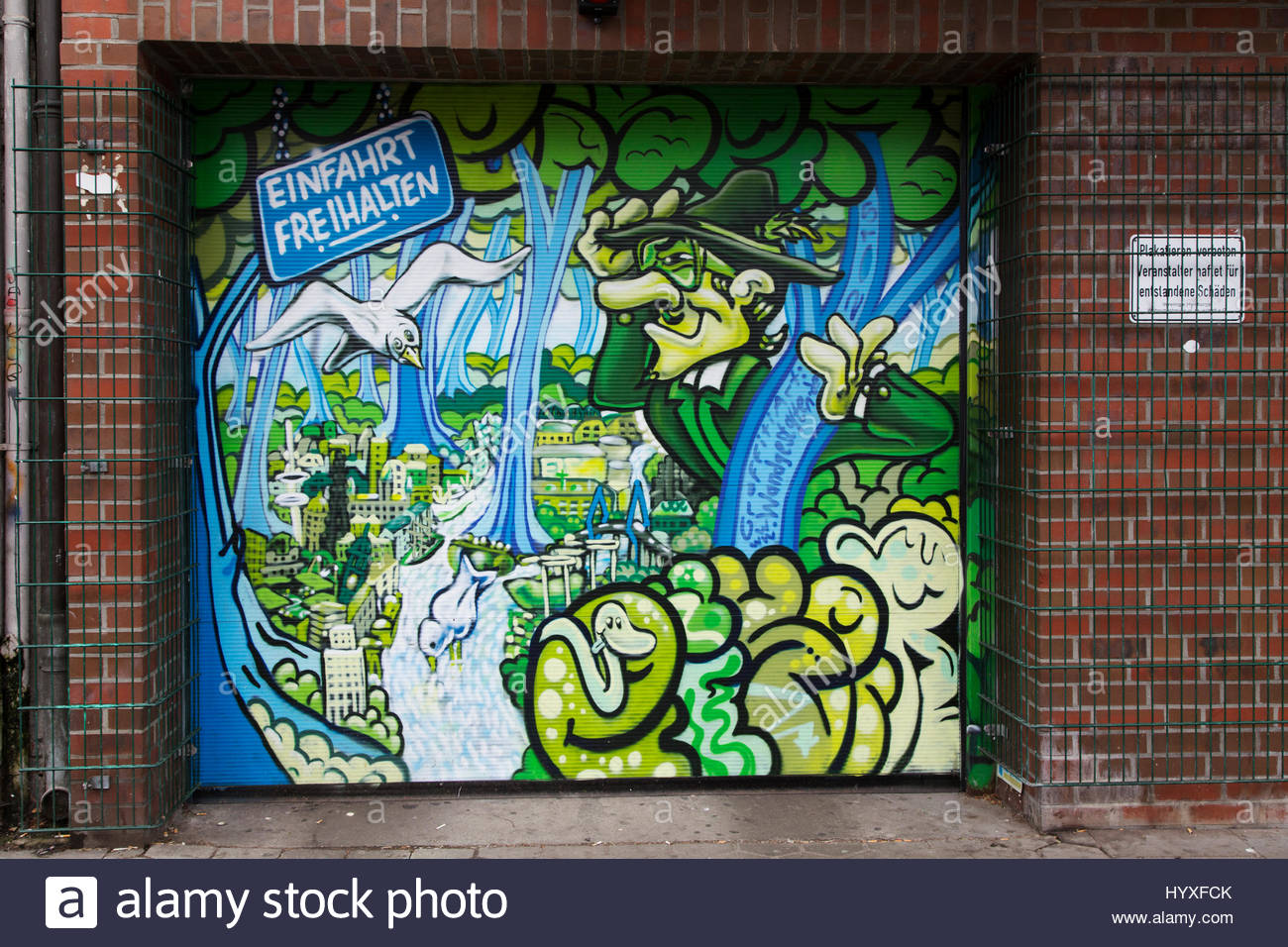 Street art on a garage door in Hamburg Germany. The colouful paintwork says \u0027Einfahrt Frei Halten\u0027 or \u0027keep the entrance free\u0027 & Street art on a garage door in Hamburg Germany. The colouful Stock ...