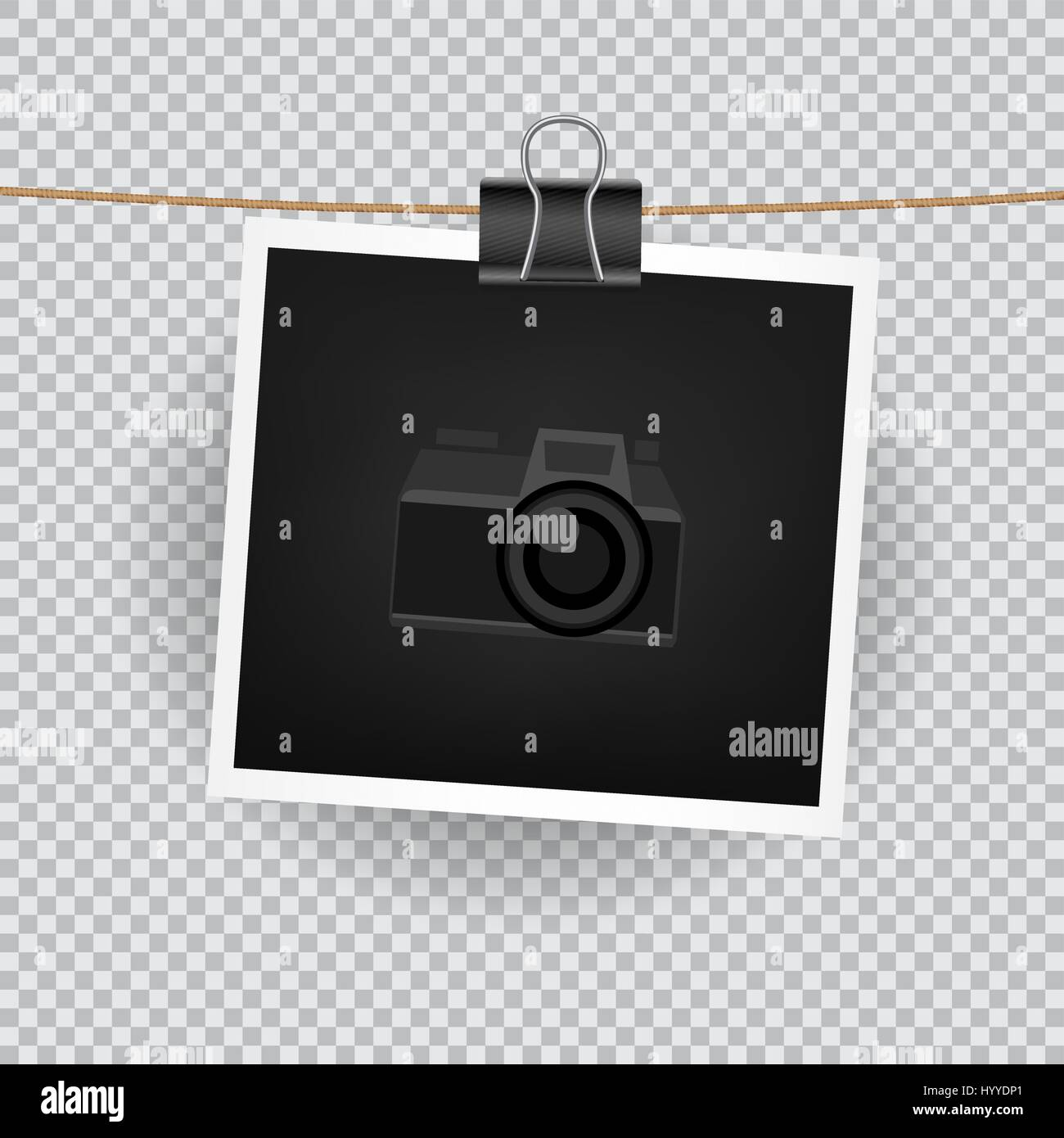 Paper square photo hang on the cord on transparent background paper square photo hang on the cord on transparent background empty exhibition of template to insert your photography camera symbol for default pict buycottarizona Gallery
