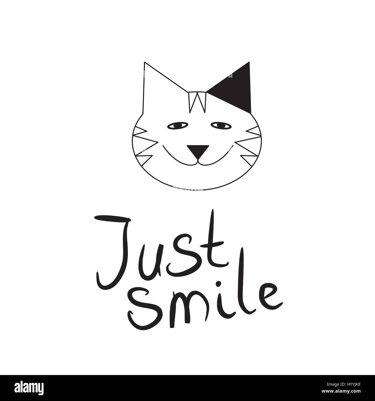 Cat Stock Quote Smiling Cat On White Backgroundsymbol Icon Logo Design Stock
