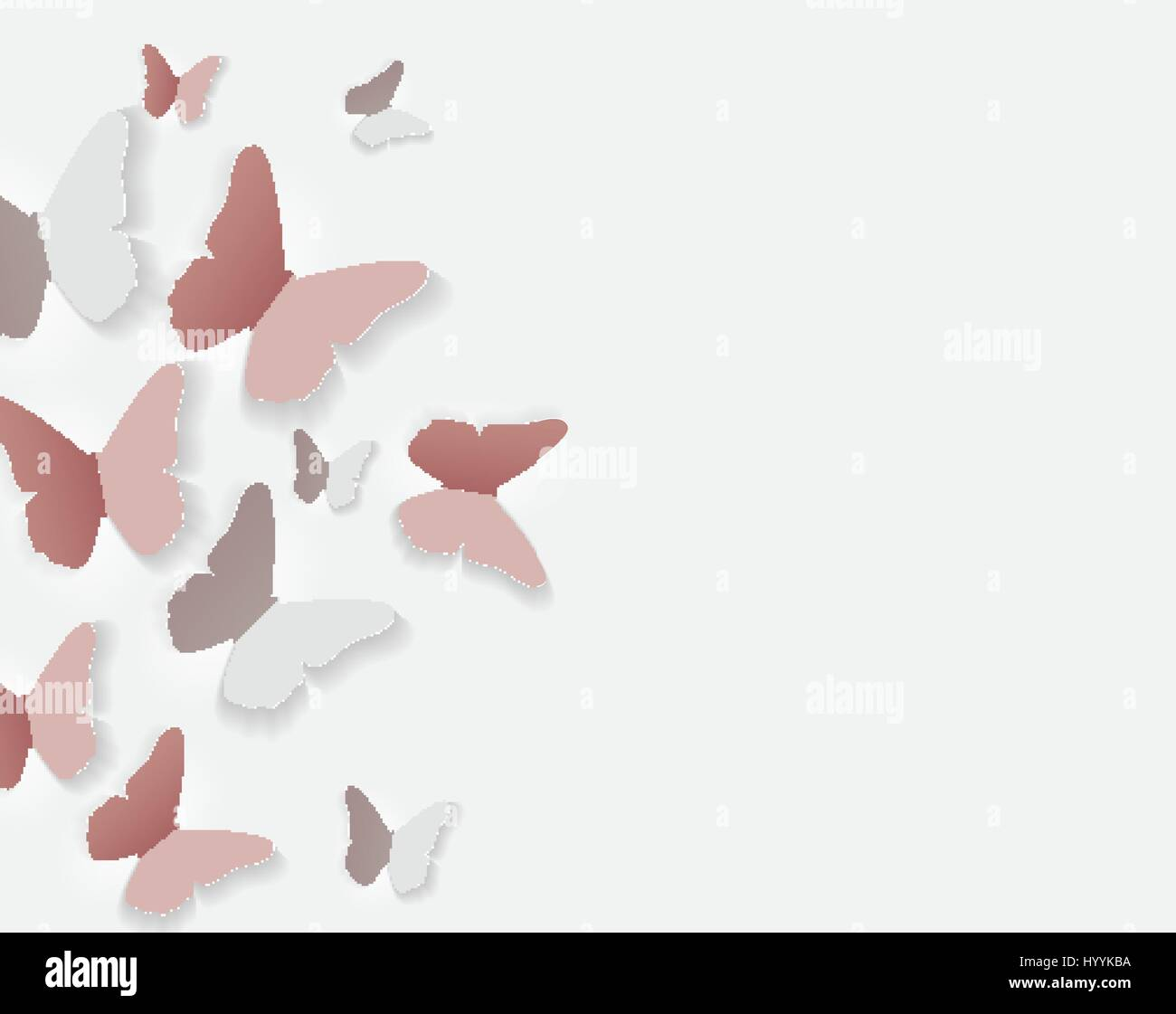 abstract paper cut out butterfly flower background vector illus