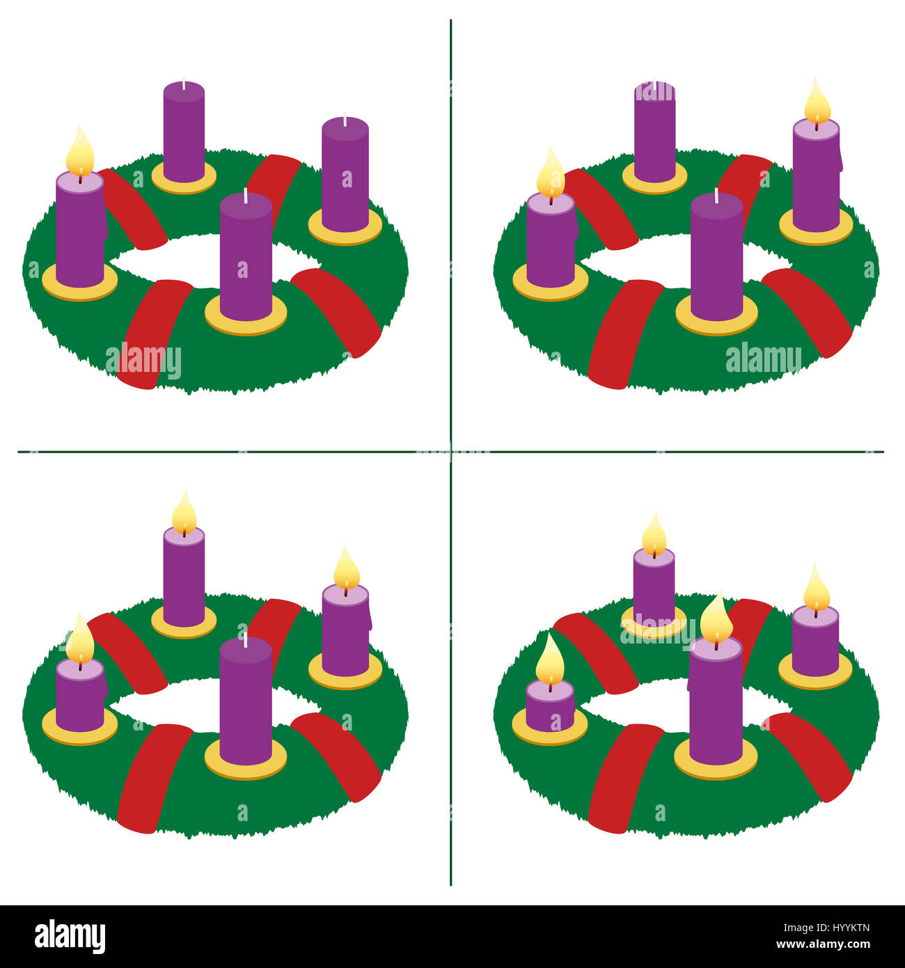 Advent wreath on first second third fourth sunday of advent advent wreath on first second third fourth sunday of advent with one two three and four lighted candles in different lengths buycottarizona Image collections