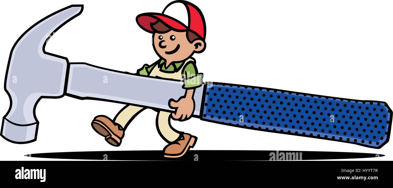 handyman holding a giant hammer vector illustration stock vector