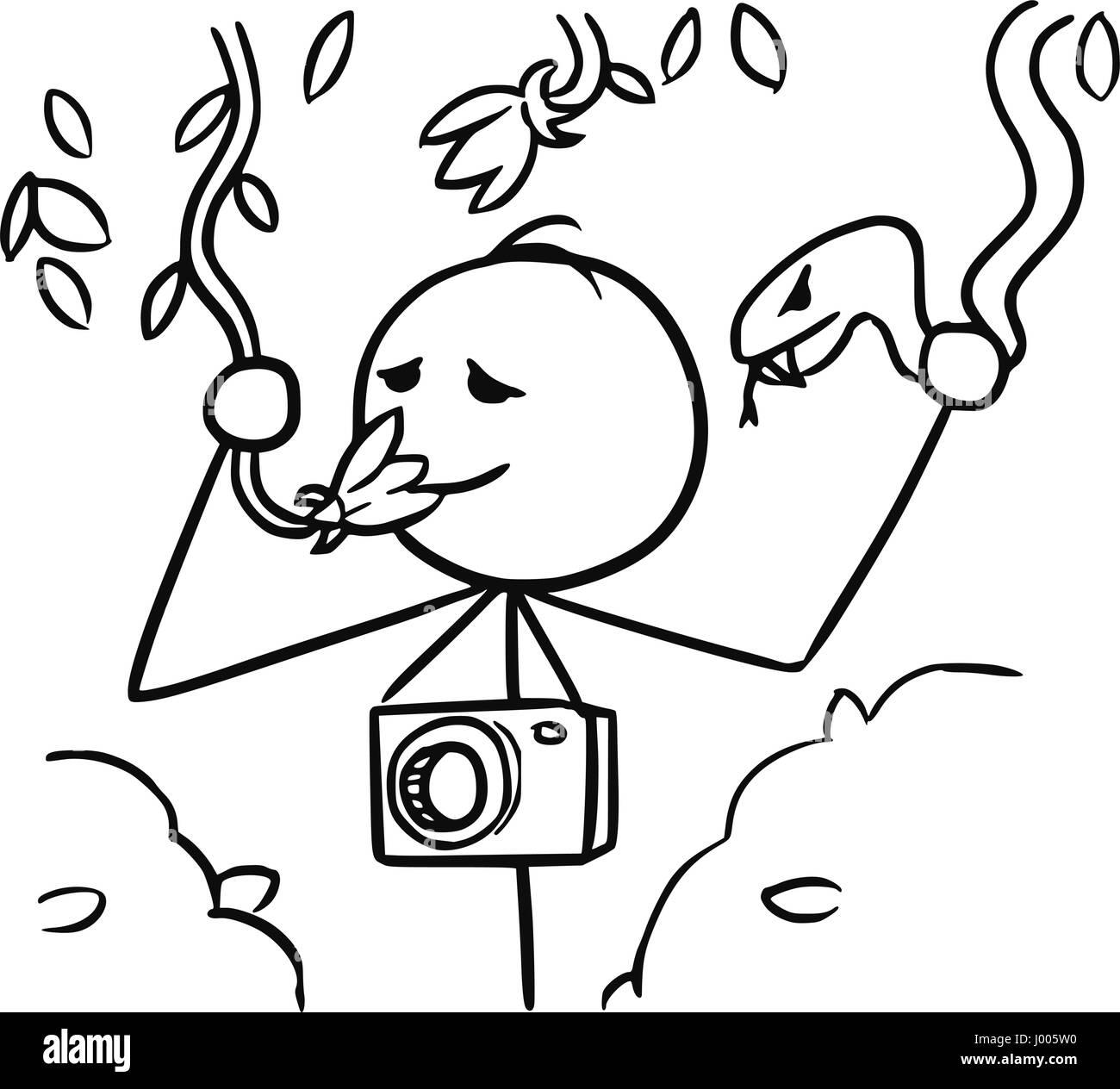 cartoon vector stickman tourist with camera smelling liana flower