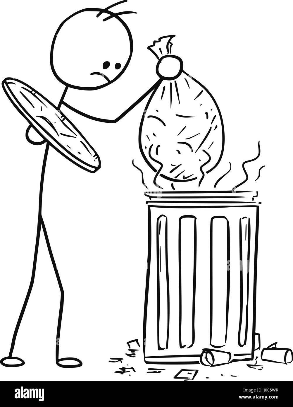 Cartoon Vector Stickman Men Is Throwing Putting The Bag