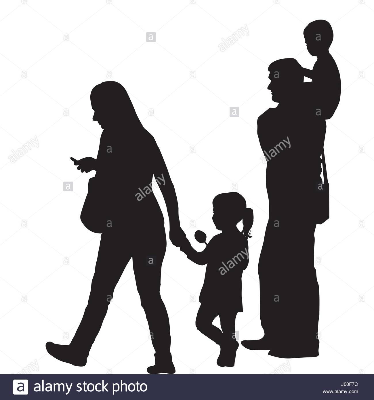 modern family silhouette with two children stock vector art rh alamy com family tree silhouette vector family silhouette vector art