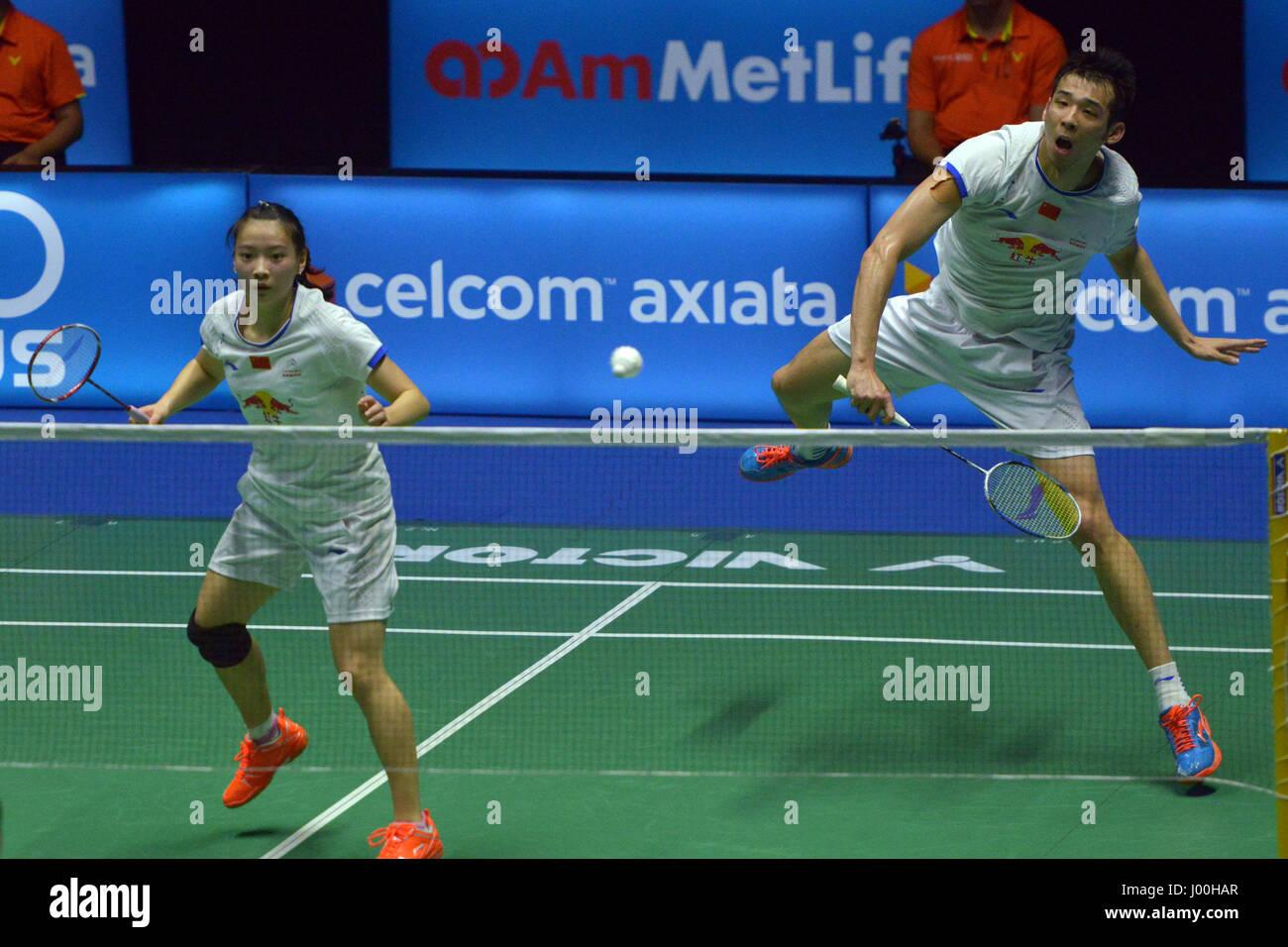 Kuching Malaysia 8th Apr 2017 China s Lu Kai R and Huang
