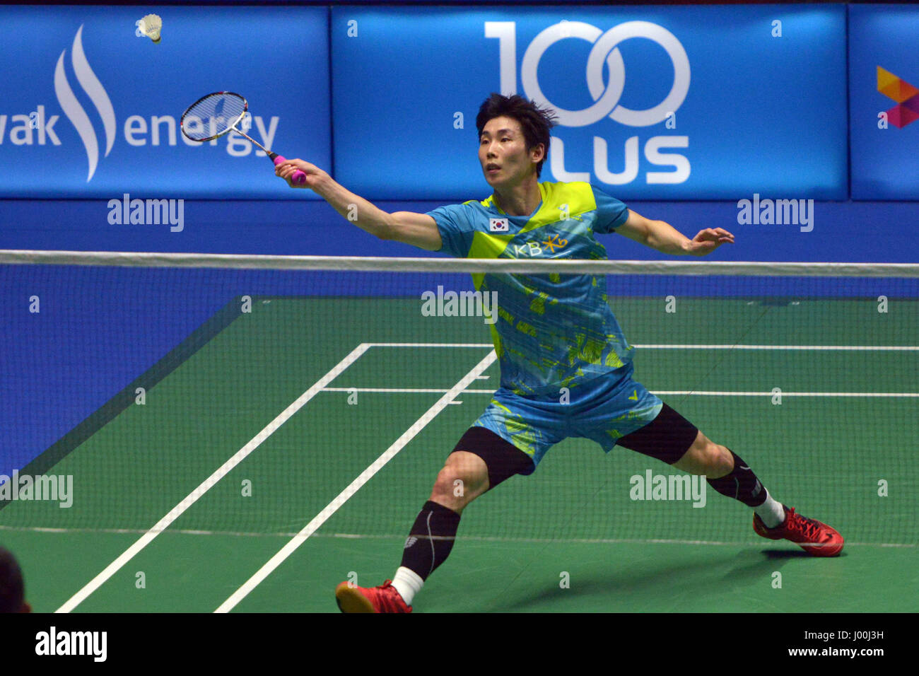 Kuching Malaysia 8th Apr 2017 Son Wan ho of South Korea hits a
